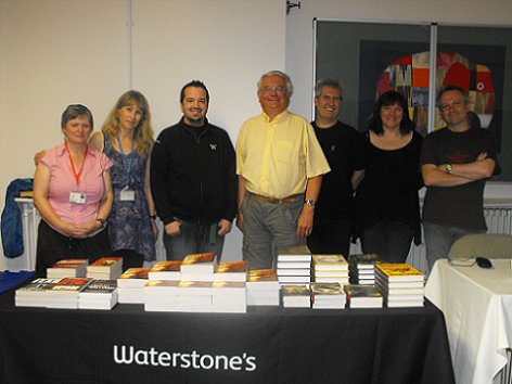 Ramsey Campbell, Paul Kane, Marie O'Regan and Conrad Williams, with staff from Bolton Library and Waterstone's, Bolton