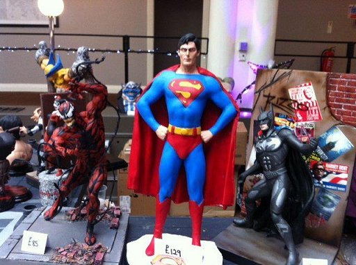 Model display at Event Horizon - Venom, Superman, Batman
