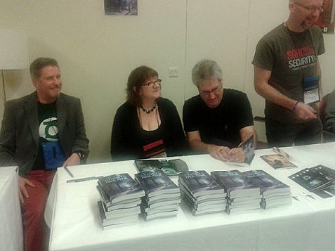 Les Edwards, Nancy Kilpatrick, Paul Kane and Tim Lebbon - Ghosts signing, WFC