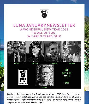 Luna Press 'Harvester' series announcement - featuring Paul Kane, Marie O'Regan, Stephen Bacon, Wole Talabi and Tim Major