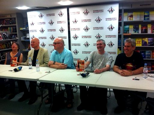 Beyond Rue Morgue signing. L to R: Lisa Tuttle, Simon Clark, Stephen Volk, Mike Carey and Paul Kane