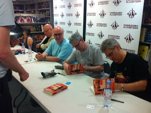 Beyond Rue Morgue signing at Forbidden Planet. L to R: Lisa Tuttle, Simon Clark, Stephen Volk, Mike Carey and Paul Kane.
